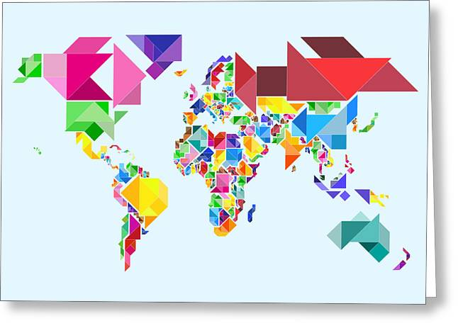 Abstract World Greeting Cards - Tangram Abstract World Map Greeting Card by Michael Tompsett