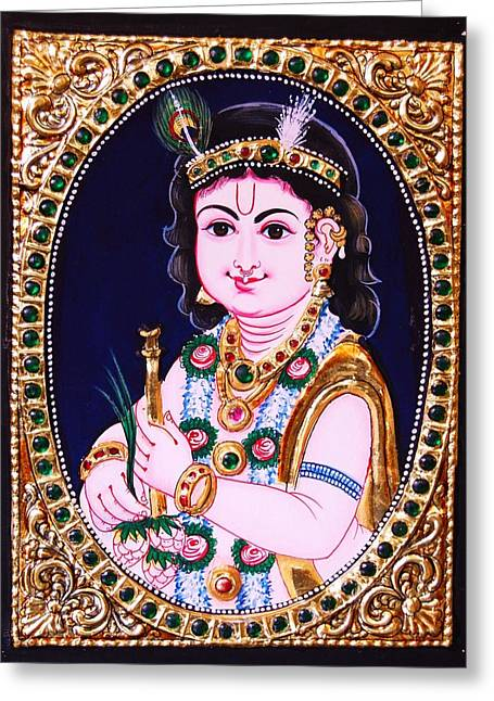 Tanjore Greeting Cards - Tanjore Painting - Krishna  Greeting Card by Poornema Ramasundaram