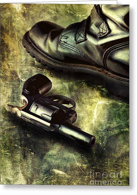 Leather Straps Greeting Cards - Tank Boots And Handgun Greeting Card by HD Connelly
