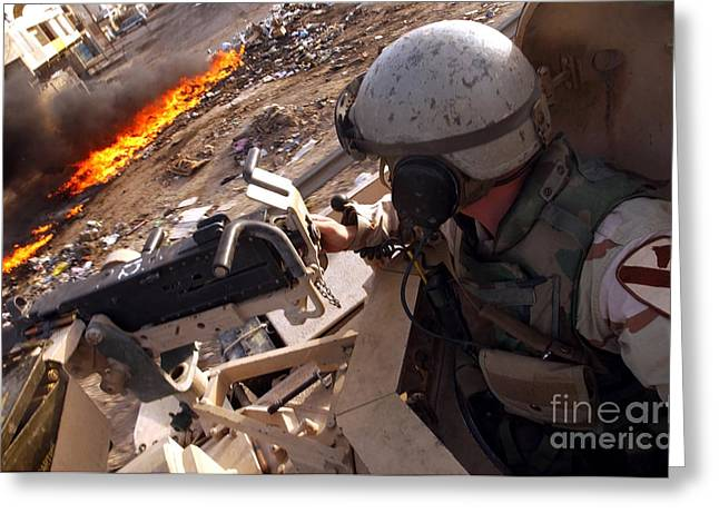 Recently Sold -  - Baghdad Greeting Cards - Tank Commander Scans The Trash Covered Greeting Card by Stocktrek Images