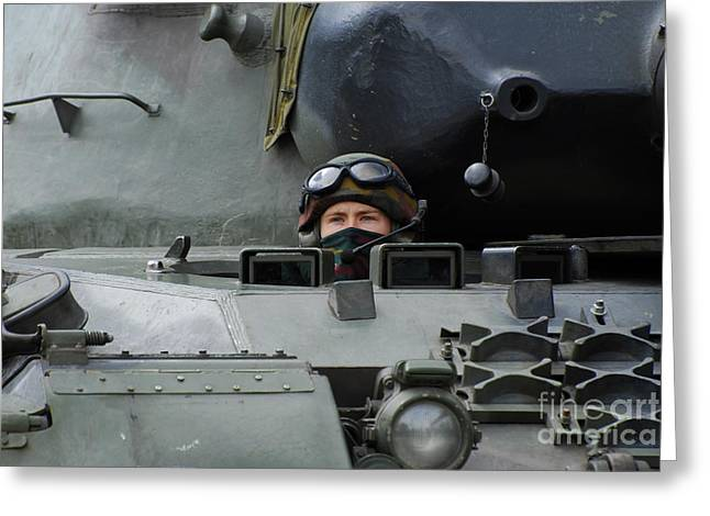 Component Greeting Cards - Tank Driver Of A Leopard 1a5 Mbt Greeting Card by Luc De Jaeger