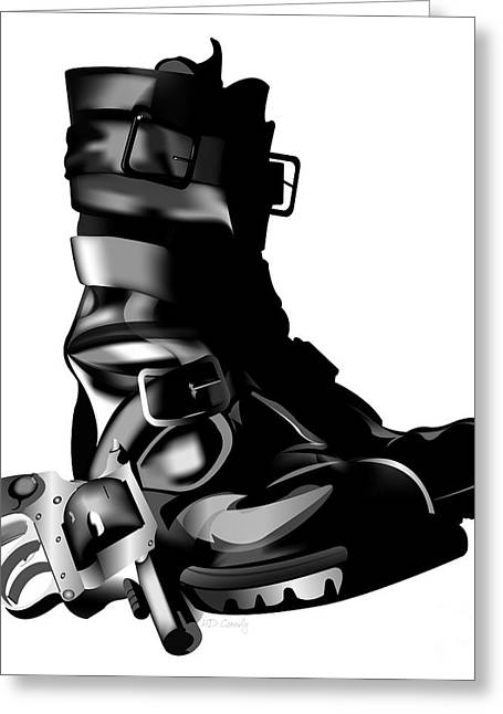 Gunmetal Greeting Cards - Tankboots And Gun Greeting Card by HD Connelly