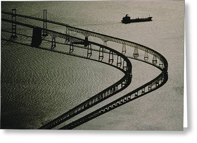 Bay Bridge Greeting Cards - Tanker And Chesapeake Bay Bridge Greeting Card by Skip Brown
