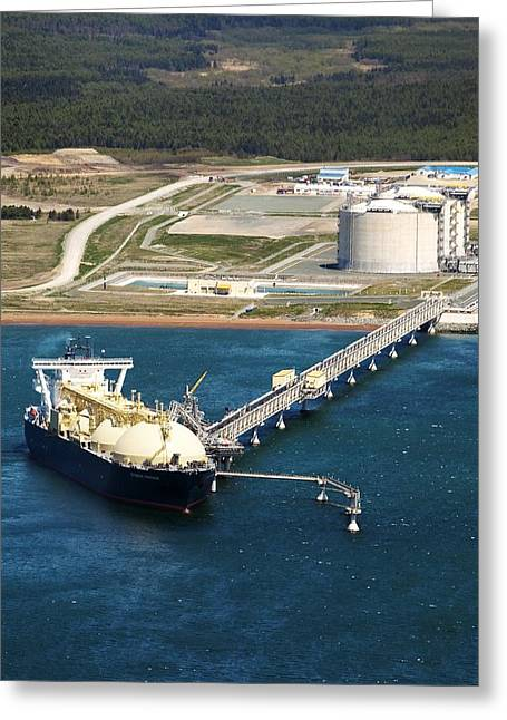 Fossil Fuel Greeting Cards - Tanker Loading Natural Gas Greeting Card by Ria Novosti