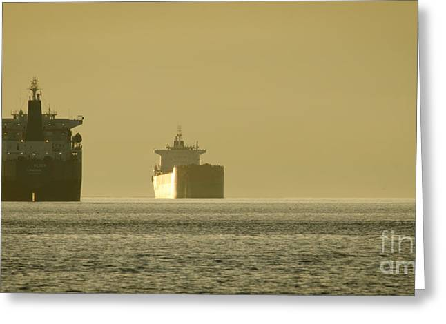 Ship Greeting Cards - TANKER SUNSET beach park vancouver bc canada Greeting Card by Andy Smy