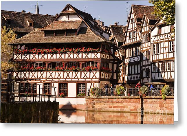 Red Geranium Greeting Cards - Tanners House Strasbourg Greeting Card by Louise Heusinkveld