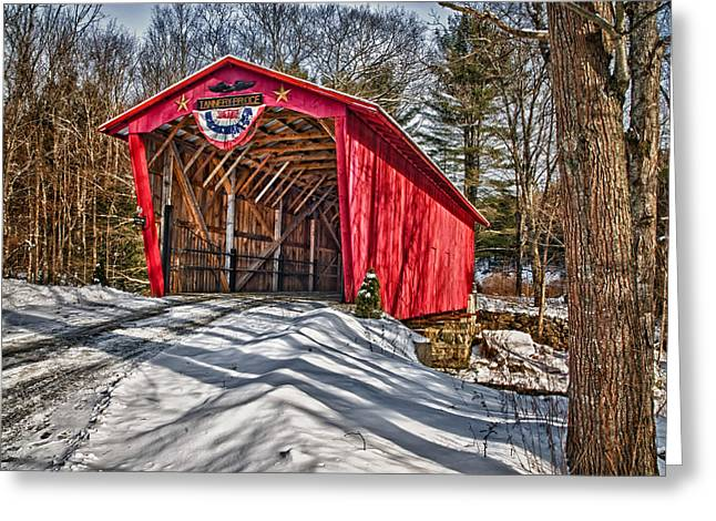 Covered Bridge Greeting Cards - Tannery Bridge Greeting Card by Fred LeBlanc