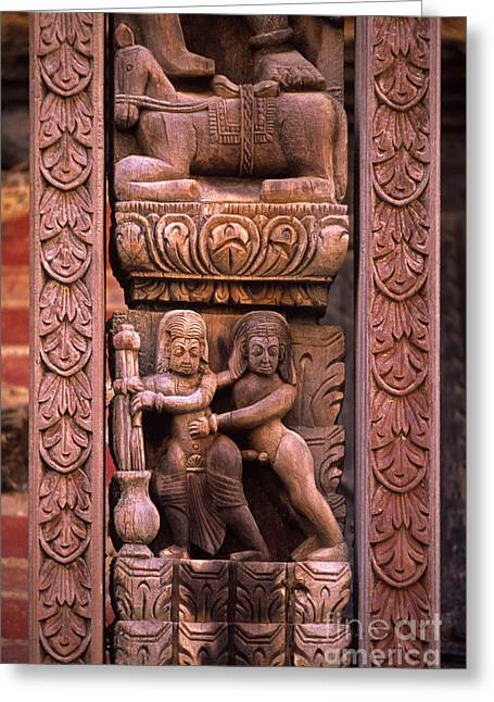 Strut Photographs Greeting Cards - Tantric Carving - Bhaktapur Nepal Greeting Card by Craig Lovell