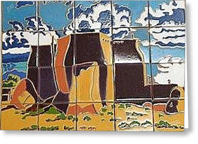 Clouds Ceramics Greeting Cards - Taos Church Greeting Card by Yana Yatsyk