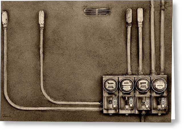 Electrical Meter Greeting Cards - Taos Electric Greeting Card by Joe Bonita