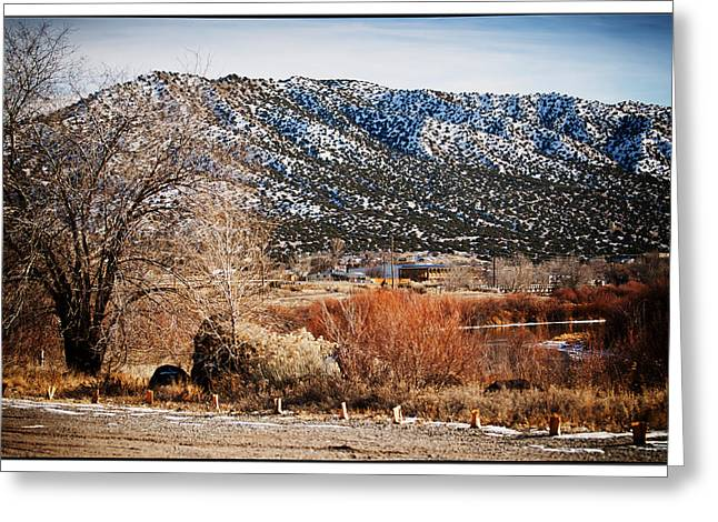 Greeting Cards - Taos Mountain View 1 Greeting Card by Lisa  Spencer