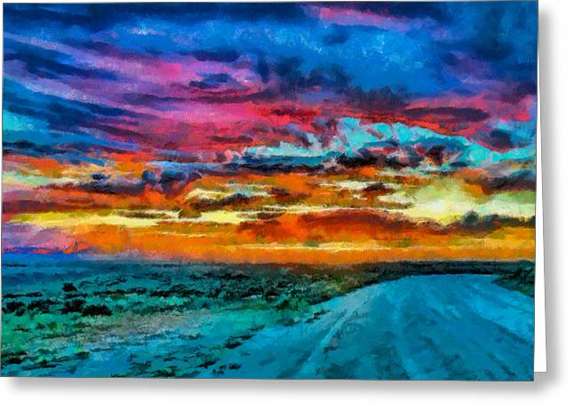 Taos Digital Greeting Cards - Taos sunset IV WC Greeting Card by Charles Muhle