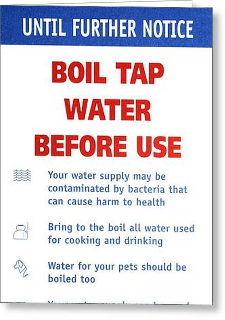 Public Water Supply Greeting Cards - Tap Water Warning Sign Greeting Card by Victor De Schwanberg