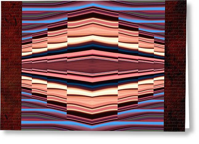 Pixel Stretching Greeting Cards - Tapestry on a Brick Wall Greeting Card by Greg Reed Brown