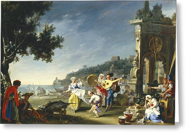 Naples Greeting Cards - Tarantella at Mergellina Greeting Card by Filippo Falciatore