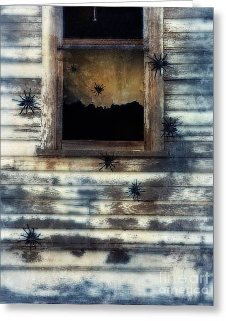 Big Spider Greeting Cards - Tarantula Spiders Crawling on an old House Greeting Card by Jill Battaglia