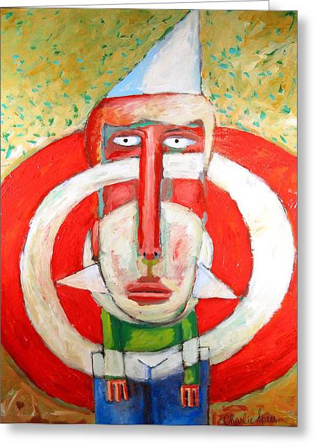 Bully Paintings Greeting Cards - SOLD  Target Boy Greeting Card by Charlie Spear