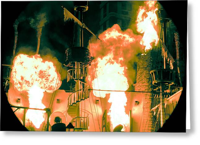 Pirates Greeting Cards - Target in Flames Greeting Card by Andy Smy