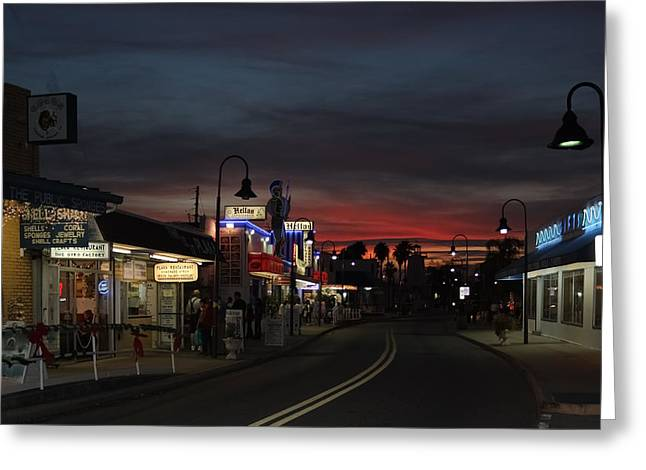 Dodecanese Greeting Cards - Tarpon Springs After Sundown Greeting Card by Ed Gleichman