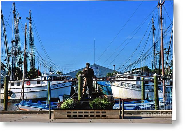 Boats In Harbor Greeting Cards - Tarpon Springs Waterfront Greeting Card by Susanne Van Hulst