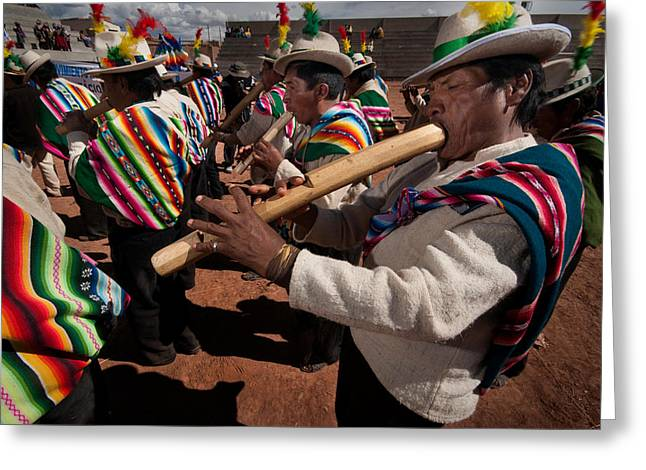 Tradition Greeting Cards - tarqueada highland band.Republic of Bolivia Greeting Card by Eric Bauer