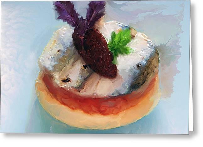 Menu Greeting Cards - Tarte fine de Sardine a la tomate Greeting Card by Michael Greenaway
