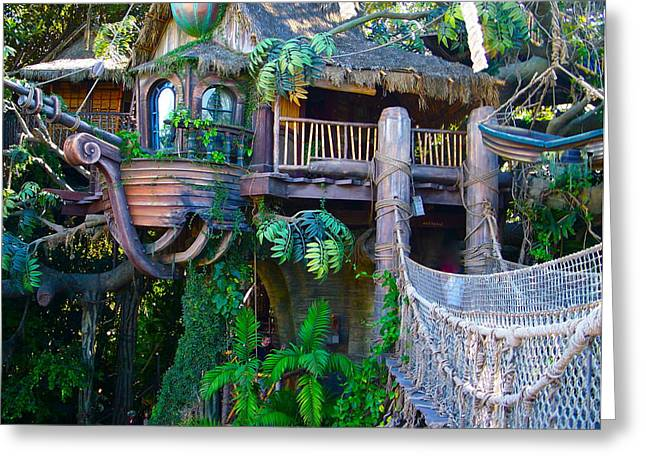 Treehouse Greeting Cards - Tarzan Treehouse Greeting Card by Karon Melillo DeVega