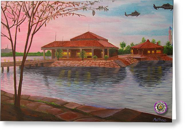 Baghdad Paintings Greeting Cards - Task Force 134 Headquarters Greeting Card by Michael Matthews