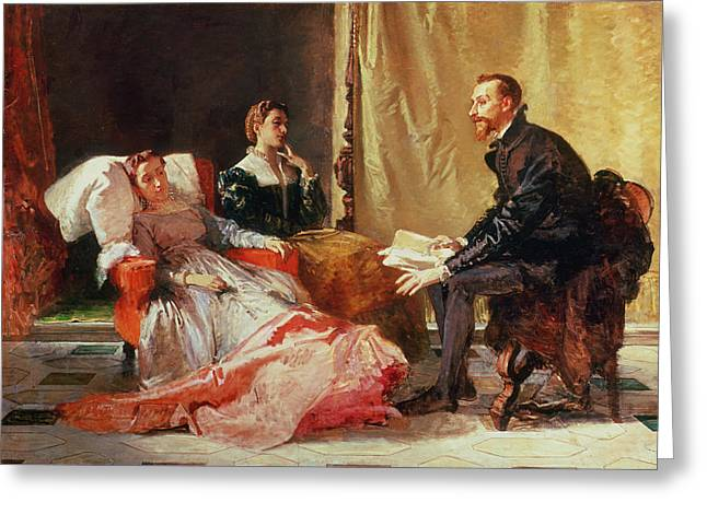 Conversation Piece Greeting Cards - Tasso and Elenora Greeting Card by Domenico Morelli