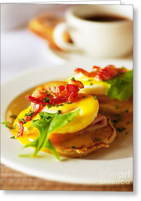 Toast Greeting Cards - Tasty breakfast eggs Greeting Card by Anna Omelchenko