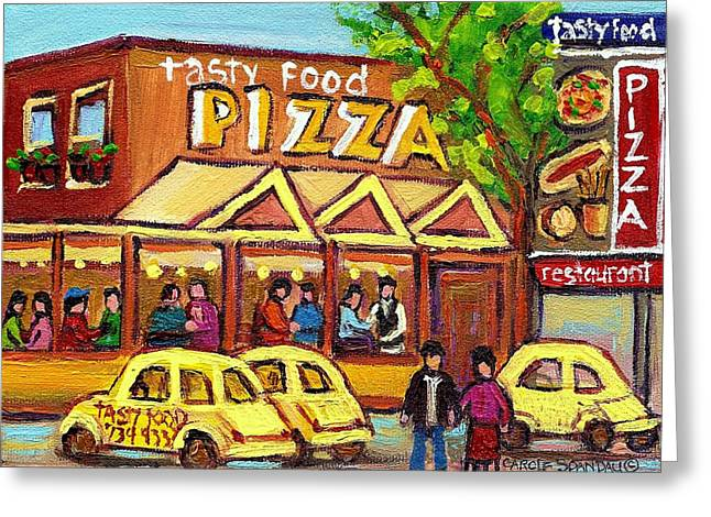 Snow Fun Hockey Ice Winter People City Cityscape Abstract Texture Expressionism Cement Landscape Greeting Cards - Tasty Food Pizza On Decarie Blvd Greeting Card by Carole Spandau