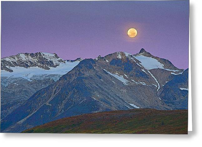 Moon Set Greeting Cards - Tatshenshini Moonset- Abstract Greeting Card by Tim Grams