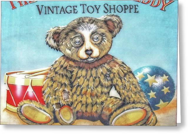 Toy Shop Greeting Cards - Tattered Teddy Toy Shop Sign Print Greeting Card by Randy Steele