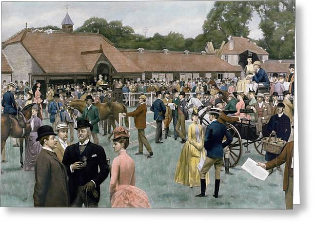 Tattersall's Newmarket Pub Greeting Card by Isaac J Cullin and I P Mendoza