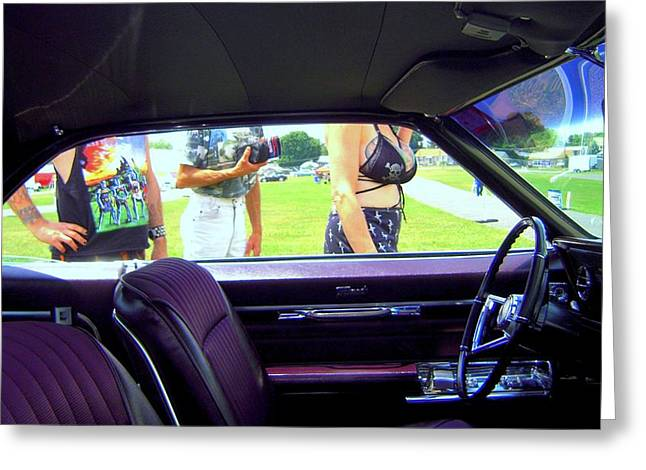 Tattoed Greeting Cards - Tattoed Strangers At A Car Show Greeting Card by Don Struke
