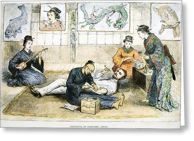 Smoker Greeting Cards - Tattoo Parlor, 1882 Greeting Card by Granger