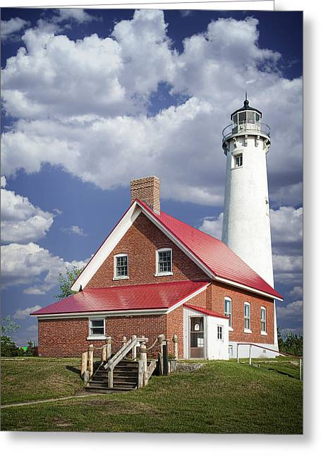 Tawas Point Lighthouse In Michigan Number 0007 Greeting Card by Randall Nyhof