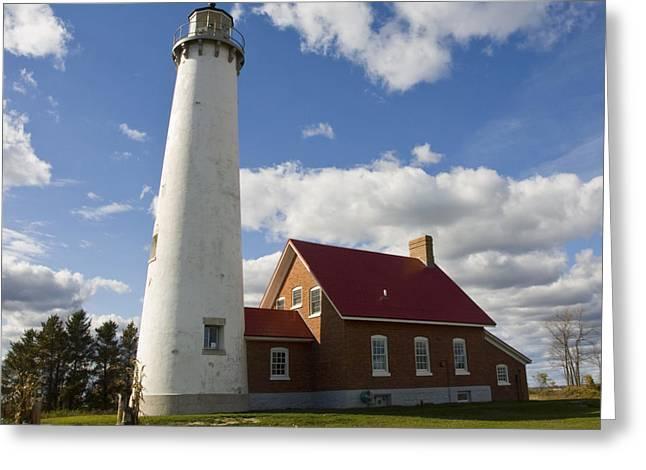 Tara Lynn Greeting Cards - Tawas Point Lighthouse Greeting Card by Tara Lynn