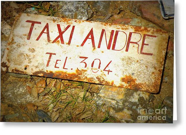 Taxi Andre Greeting Card by Lainie Wrightson