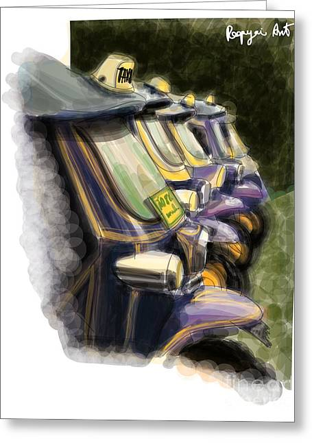 Sketchbook Digital Greeting Cards - Taxi Thailand Greeting Card by Panupong Roopyai