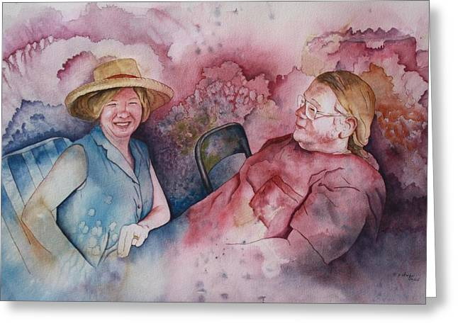 Patsy Sharpe Paintings Greeting Cards - Taylor and Chuck at the Picnic Greeting Card by Patsy Sharpe