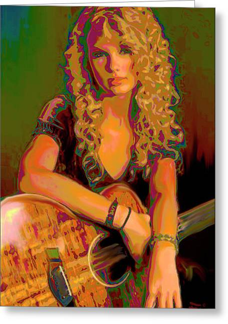 Taylor Guitar Greeting Cards - Taylor Swift Greeting Card by  Fli Art