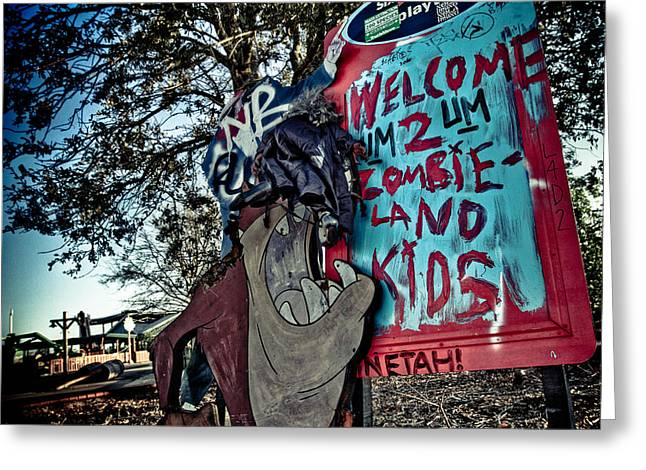 Jazzland Greeting Cards - Taz Welcomes You to Zombie Land Greeting Card by Pixel Perfect by Michael Moore