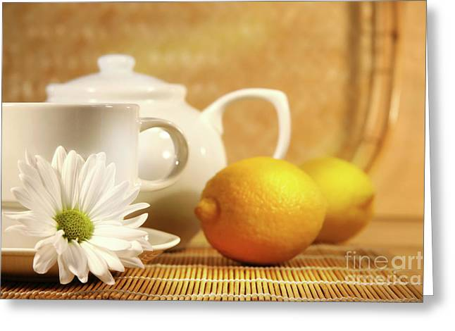 White Clay Greeting Cards - Tea and lemon Greeting Card by Sandra Cunningham