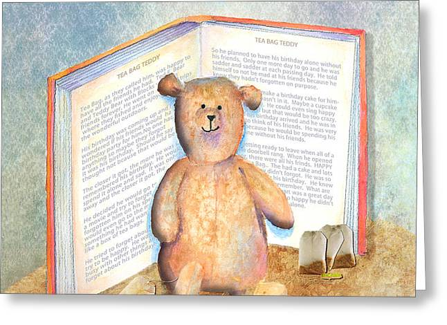 Tea Bag Teddy Greeting Card by Arline Wagner