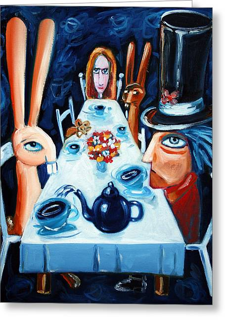 Drink Me Greeting Cards - Tea By Night Greeting Card by Leanne Wilkes