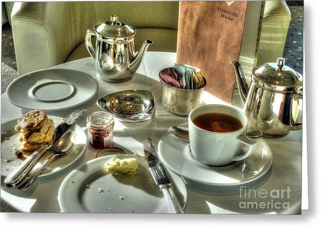 Menu Greeting Cards - Tea for Two Greeting Card by Michael Garyet