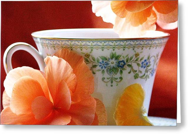 Tangerines Greeting Cards - Tea In The Garden Greeting Card by Angela Davies