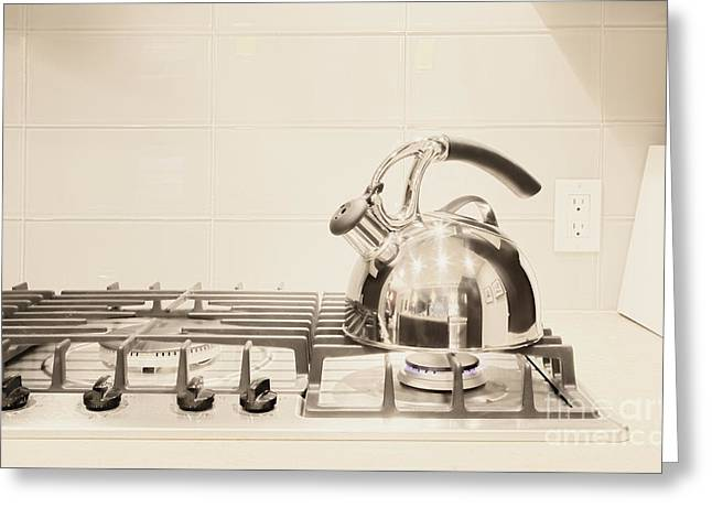 Tea Kettle on Stove Greeting Card by Andersen Ross