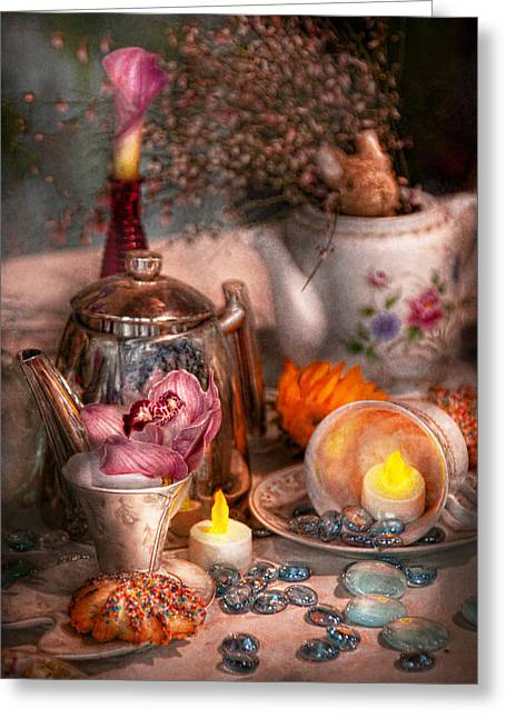 Tea Party Greeting Cards - Tea Party - I would love to have some tea  Greeting Card by Mike Savad